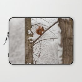 Squirrel sitting on twig in snow Laptop Sleeve