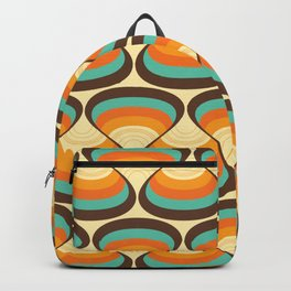 Wavy Turquoise Orange and Brown Retro Lines Backpack