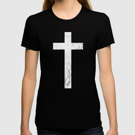 Christian Cross - White Marble T-shirt