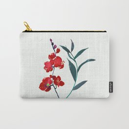 Coral red orchid navy ocean blue foliage simple watercolor design Carry-All Pouch
