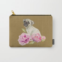 Pug and Peonies   Watercolor Illustration Carry-All Pouch