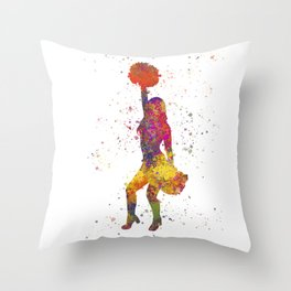 young woman Cheerleader Art Girl Poms Dance in watercolor 09 Throw Pillow