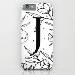Black Letter J Monogram / Initial Botanical Illustration iPhone Case