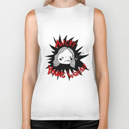 angry young woman Biker Tank