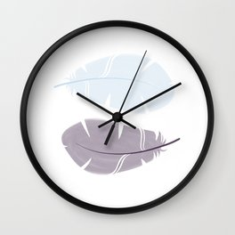 Feathers blue black Wall Clock