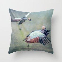 Cranes arriving Throw Pillow