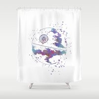 death star Shower Curtains featuring Star . Wars Death Star by Carma Zoe