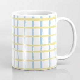 Pastel yellow teal watercolor geometrical checker stripes Coffee Mug