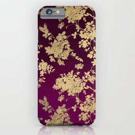 Chic faux gold burgundy ombre watercolor floral iPhone Case