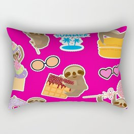 Hello Summer bright tropical patches stickers. Kawaii cute sloth collection Rectangular Pillow