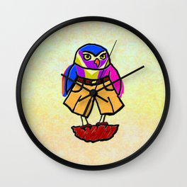Colorful Owl in Trousers Wall Clock