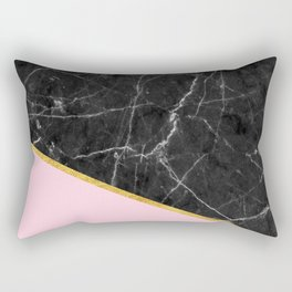 Black marble geometric gold leaf with pink Rectangular Pillow
