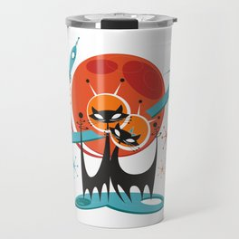 Galactic Cats by Art of Scooter Mid Century Modern Art Travel Mug