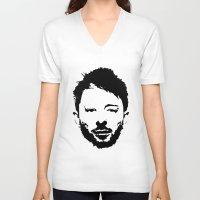 radiohead V-neck T-shirts featuring Thom Yorke, Radiohead by Jan Hoksbergen