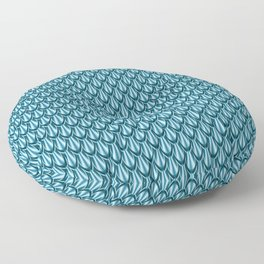 Gleaming Blue Metal Scalloped Scale Pattern Floor Pillow