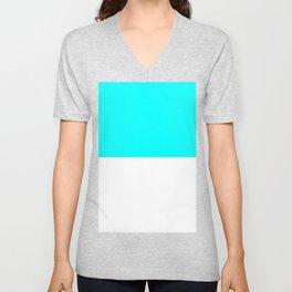 White and Aqua Cyan Horizontal Halves Unisex V-Neck