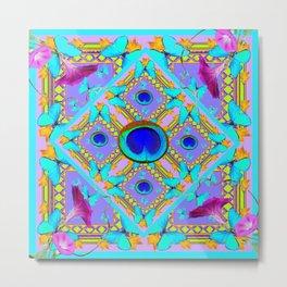 Purple Fantasy Turquoise Butterflies Morning Glories art Metal Print