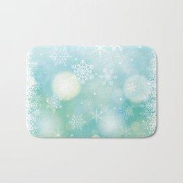 Blue Snowflakes Blur Lights Snowing Modern Winter Pattern Bath Mat