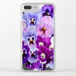 GREY VARIEGATED SPRING COLLECTION  PANSIES Clear iPhone Case