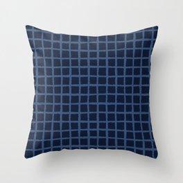 Hand Drawn Check Pattern Indigo Blue Grunge Throw Pillow