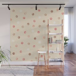 Modern retro polka dots painting on pastel background illustration pattern Wall Mural