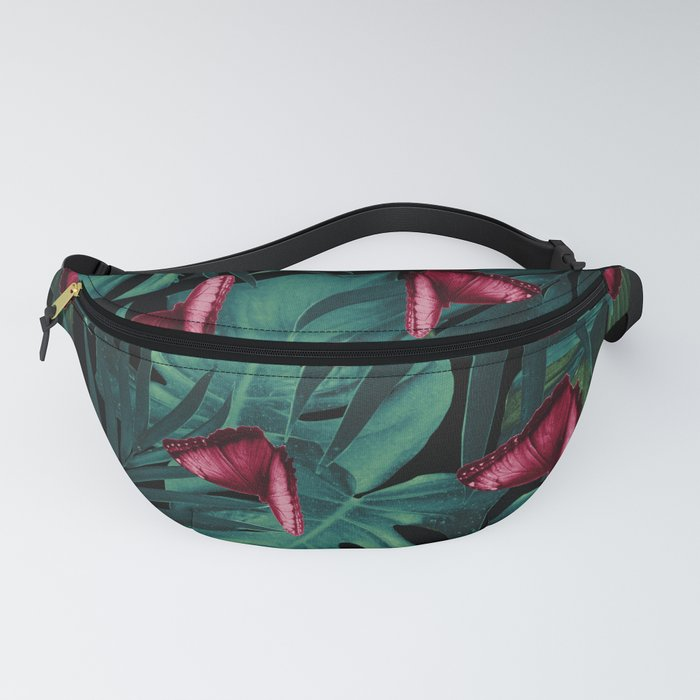 Tropical Butterfly Jungle Night Leaves Pattern #3 #tropical #decor #art #society6 Fanny Pack