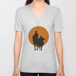 Don Quixote de la Mancha Silhouette, of Cervantes spanish novelist, at sunset Unisex V-Neck