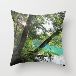 Aqua Blue Lake and Trees Throw Pillow