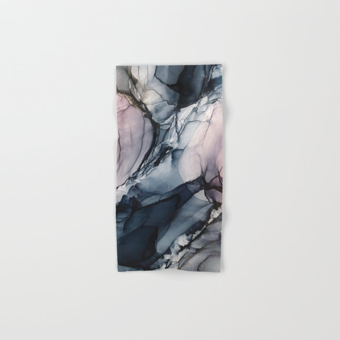 Blush, Navy and Gray Abstract Calm Clouds Hand & Bath Towel