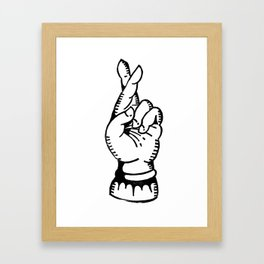 cross your fingers // good luck rubber carving stamp Framed Art Print