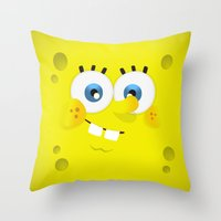 spongebob Throw Pillows featuring SpongeBob by solostudio