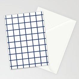 Navy Grid Pattern Stationery Cards