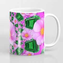 May Babies Emerald Gems & Pink Roses Coffee Mug
