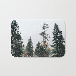 Snow Capped Pine Trees Bath Mat