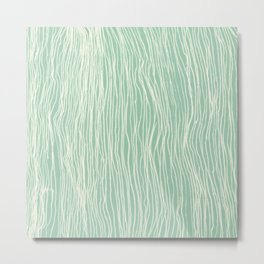Jade Glow - abstract lines in cream & mint Metal Print