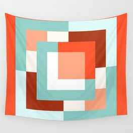 Squares Poppy + Mint Wall Tapestry