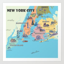 New York City Fine Art Print Retro Vintage Favorite Map with Touristic Highlights Art Print