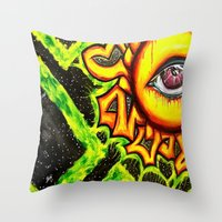 psychadelic Throw Pillows featuring Psychadelic sun by Annabomb