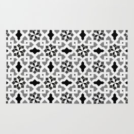 black and white -  Oriental design - orient  pattern - arabic style geometric mosaic Rug