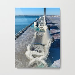 A line of Frozen Benches on Lake Erie Metal Print