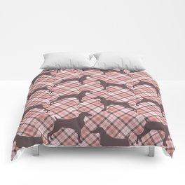 PINK TARTAN WEIMARANER Comforters