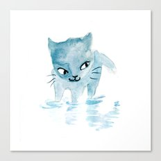 Puddle Kitten Canvas Print
