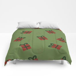Gifts and stars - green and red Comforters