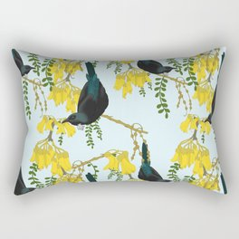 Tuis in the Kowhai Flowers Rectangular Pillow