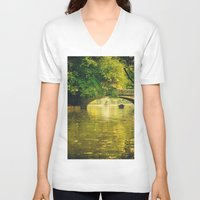rowing V-neck T-shirts featuring Rowing by nature by Eduard Leasa Photography