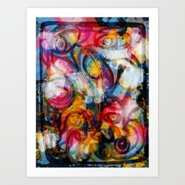 Flowers Abstract Graffiti Outsider Art  Art Print