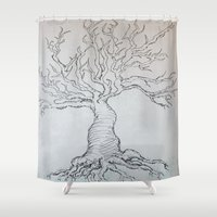 pen Shower Curtains featuring Pen Tree by Taylor Rae