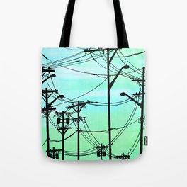 Industrial poles aqua Tote Bag