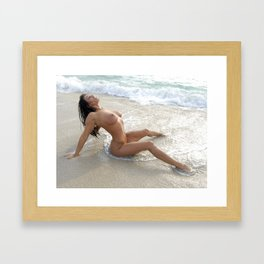 0061-SS Beautiful Naked Woman Nude Beach Sand Surf Big Breasts Long Black Hair Sexy Erotic Art Framed Art Print