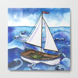Froggy Goes Sailing Metal Print
